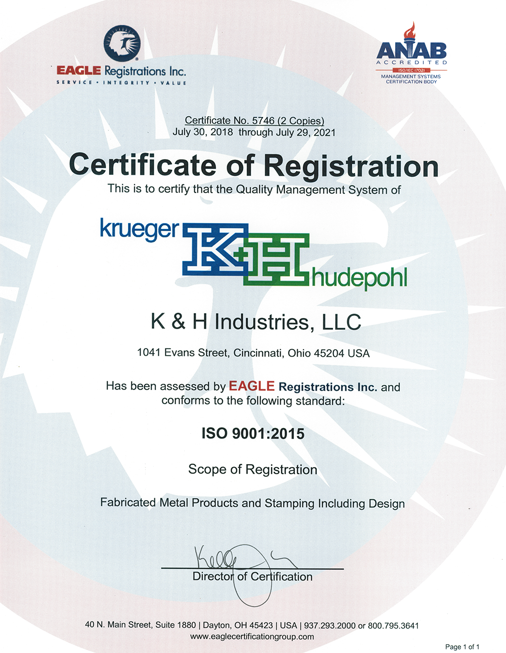 K&H Industries ISO Certification